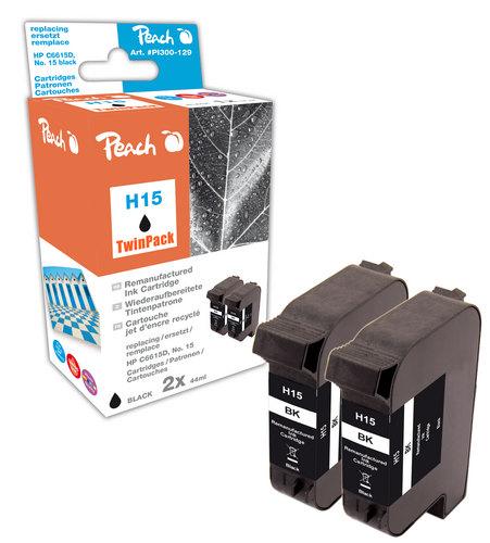 Peach Doppelpack Druckköpfe schwarz kompatibel zu HP No. 15, C6615D