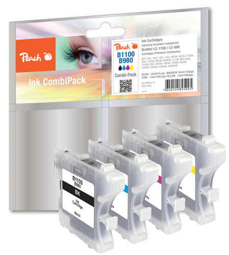 Peach Multipack, compatible avec Brother LC-1100/LC-980 bk, c, m, y