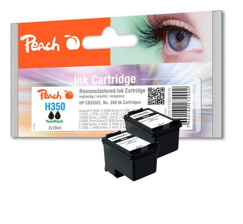 Peach Twin Pack Tête d'impression noire, compatible avec HP No. 350, HP CB335EE