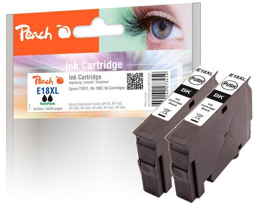Peach Twin Pack Cartouche d'encre noire, compatible avec Epson T1811, No. 18XLbk