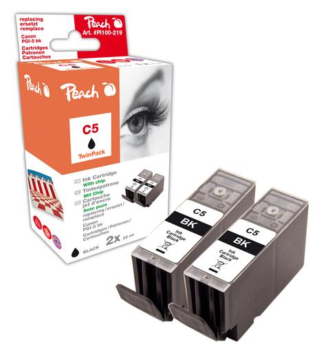 Peach Doppelpack Tintenpatronen schwarz kompatibel zu Canon PGI-5bk, 0628B001