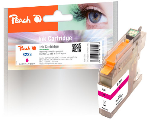 Peach Cartouche d'encre magenta, compatible avec Brother LC-223, LC-223M