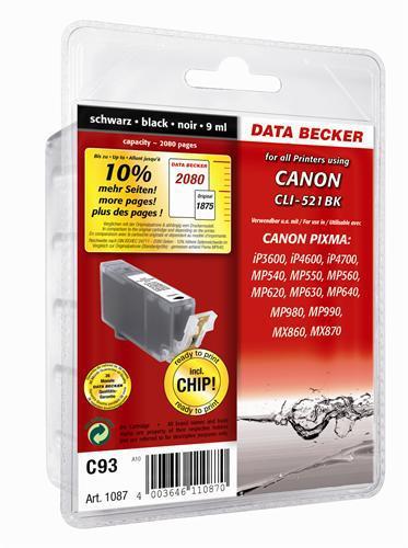 C93 pour Canon CLI-521bk noir Cartouche d'encre compatible