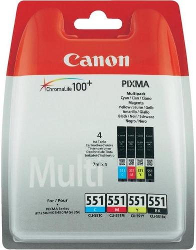 Canon CLI-551 Multipack, TPA schwarz, cyan, magenta und yellow