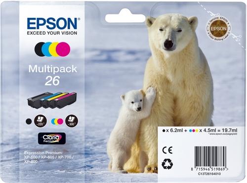 Epson T26 Multipack, TPA schwarz, cyan, magenta und yellow