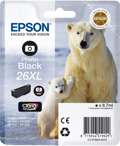 Epson T26XL, Cartouche d'encre photo noir, 400 pages