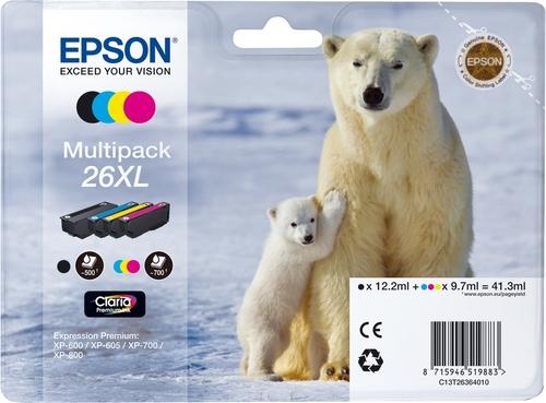 Epson T26XL Multipack, TPA schwarz, cyan, magenta und yellow