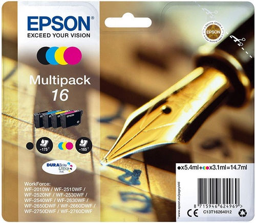 Epson 16 Multipack, TPA black, cyan, magenta & yellow