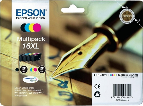 Epson 16XL Multipack, TPA black, cyan, magenta & yellow