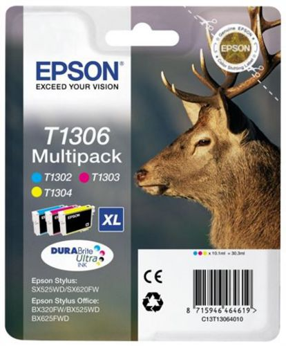 Epson T13064010 Multipack, Cartouches d'encre cyan, magenta et yellow