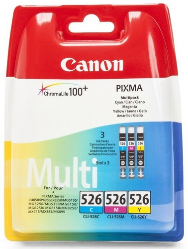 Canon CLI-526CMY Multipack, TPA cyan, magenta und yellow je 9ml