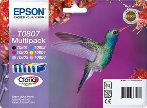 Epson T0807, [T0801 - T0806] Cartouche d'encre Multipack Claria Photographic Ink
