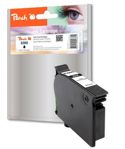 E080 pour Epson T0801 noir Cartouche d'encre compatible