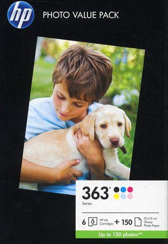 HP Nr. 363 Photo Value Pack avec tous les 6 couleurs et 150 10x15cm papier photo