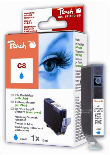Peach Tintenpatrone cyan kompatibel zu Canon CLI-8c, 0621B001