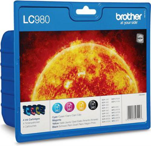 Brother LC980VALBP, Cartouches d'encre noir, cyan, magenta, jaune, Value Pack
