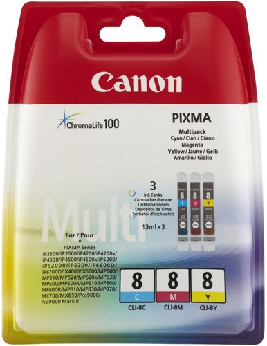 Canon CLI-8CMY Multipack, TPA cyan, magenta und yellow je 13ml