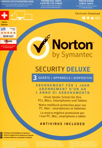 Norton Security Deluxe 2017 3.0 1 User 3 PC