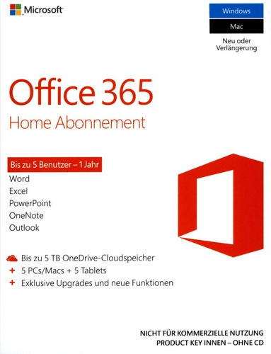 Office 365 Home Abonnement 1 Jahr