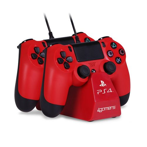 CHARGE - Play & Charge Cables with Desktop Stand - red [PS4]