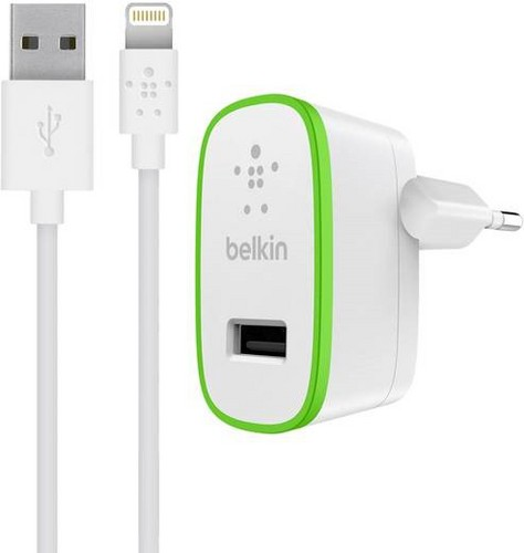 Belkin Boost Up Home Charger [12W/2.4 Amp] w/ Lightning Cable, 1.2m - white