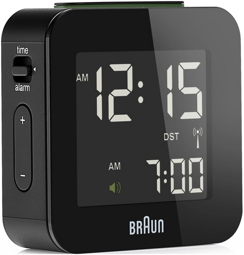 Global Radio Controlled Travel Alarm Clock BNC008 black