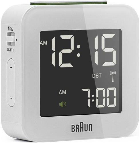 Global Radio Controlled Travel Alarm Clock BNC008 white