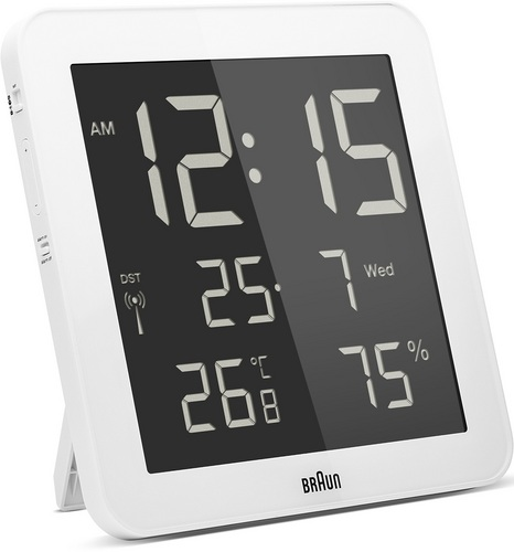 Global Radio Controlled Digital Wall Clock BNC014 white