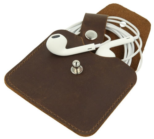 Earphone Case Vintage - dark brown