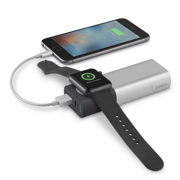 Valet Charger Power Pack 6700mAh for Apple Watch + iPhone (Lightning) - silve...