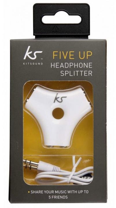 KitSound AUX Five-Up Splitter - white