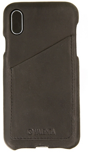 Valenta Leather Back Cover Classic Luxe - iPhone X - vintage black