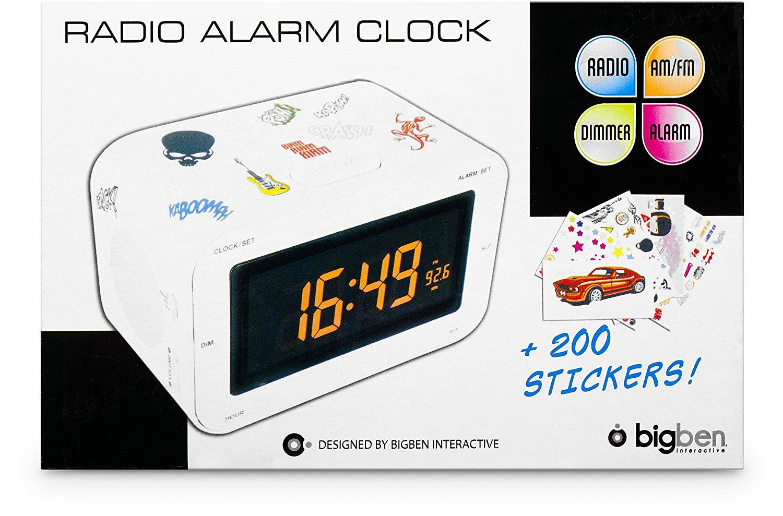 bigben alarm clock radio rr30 kids white. Black Bedroom Furniture Sets. Home Design Ideas