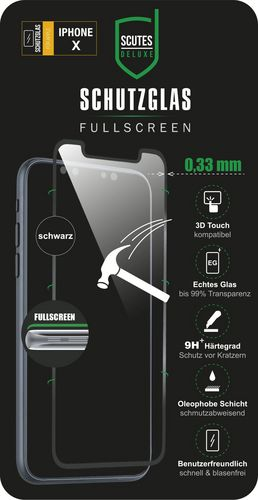 Scutes 3D Glass Screen Protector - iPhone X/XS - black