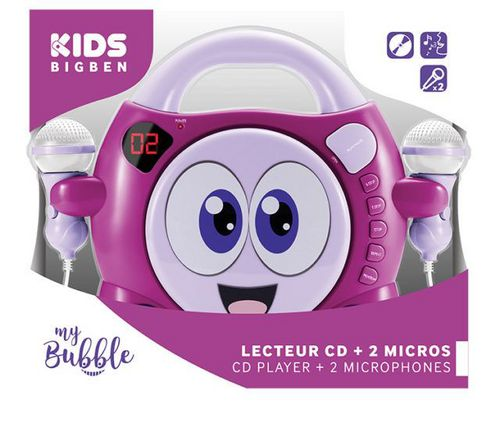 Bigben - Radio CD Player CD59 my bubble - smiley pink [incl. 2 microphones]