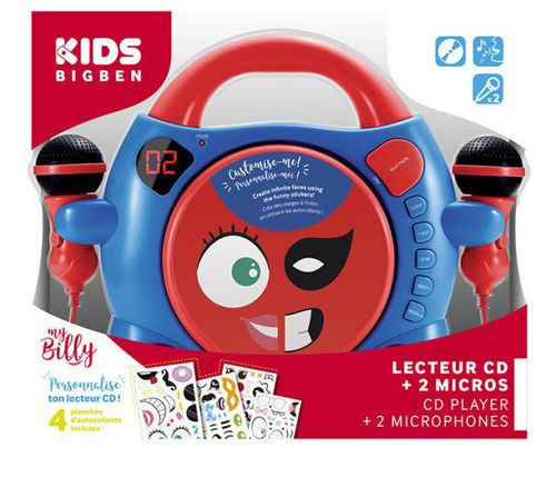 Bigben - Radio CD Player CD59 my billy - boy red / blue [incl. 2 microphones]