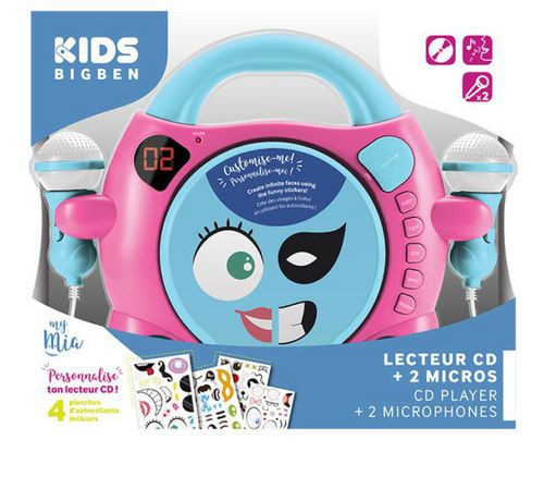 Bigben -Radio CD Player CD59 my mia - girl turqoise / pink [incl. 2 microphones]
