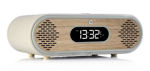 VQ Rosie Lee DAB+ / BT Radiowecker - light grey & green grass oak