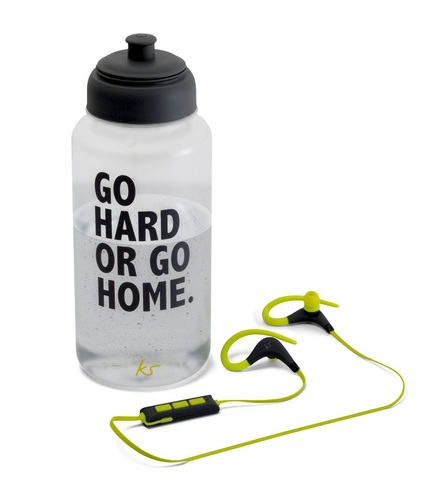 KitSound Race Wireless BT In-Ear Earphones +Water Bottle - black