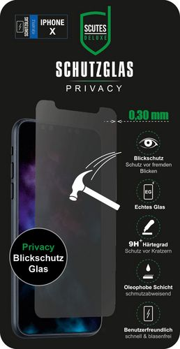 Scutes Glass Screen Protector Privacy - iPhone X