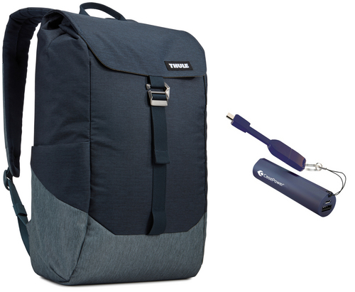 Thule Lithos Backpack [15 inch] 16L Bundle - carbon blue