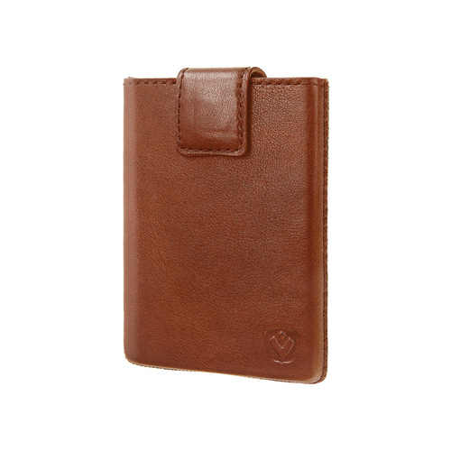 Valenta Pocket Luxe Card Case - cognac