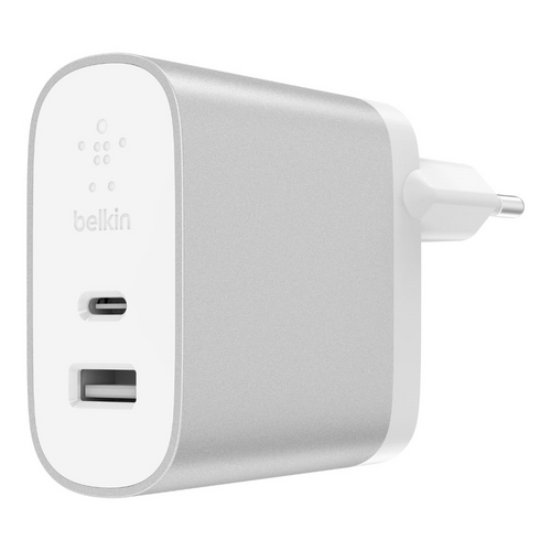 Belkin Boost USB-C [27W] + USB-A [12W] Home Charger - silver