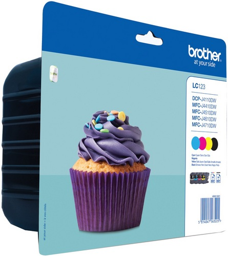 Brother LC123VALBP, Cartouches d'encre noir, cyan, magenta et jaune, Value Pack