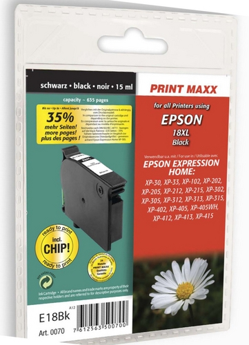 E18bk Epson 18XL schwarz kompatible Druckpatrone