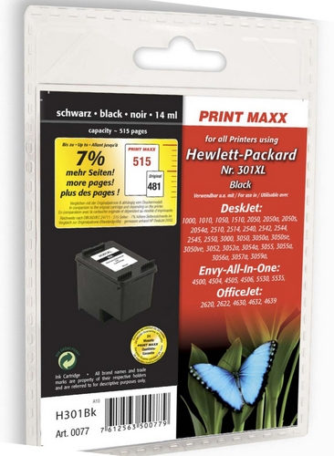 H301bk HP Nr. 301XL schwarz kompatible Druckpatrone