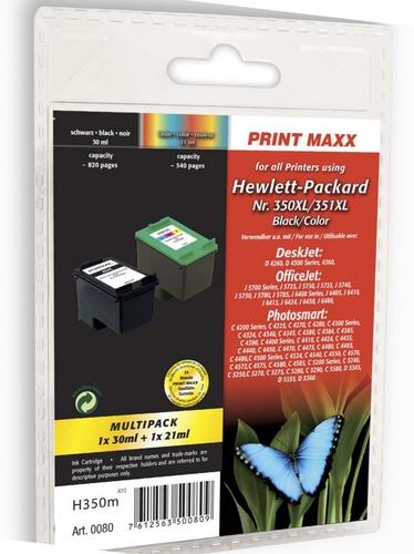 H350 pour HP No. 350XL noir & No. 351XL coloré Cartouches d'encre compatible