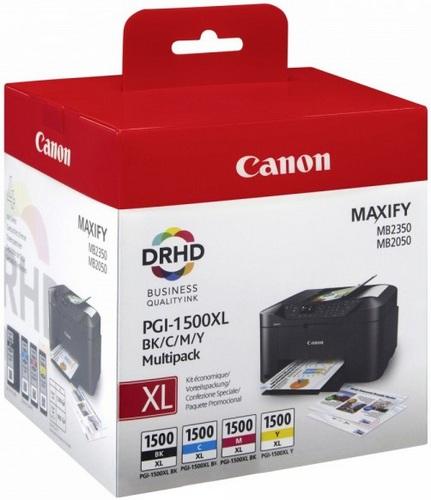 Canon PGI-1500XL Multipack, Cartouches d'encre noir, cyan, magenta & jaune