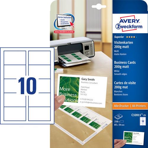 250 Superior Visitenkarten, glatte Kanten, 200 g/m2, 85x54 mm
