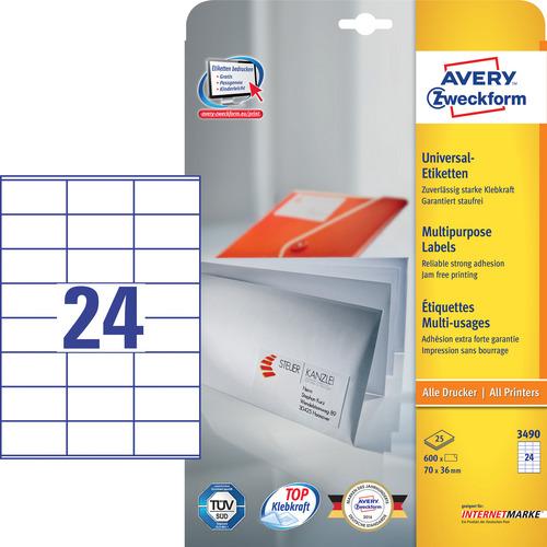 600 Universal-Etiketten, weiss, 70x36 mm, permanent